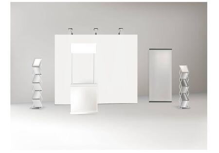 Trade exhibition stand, Exhibition round, 3D rendering Ilustracja