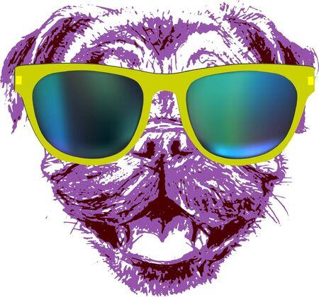 dog vector pug head avatar
