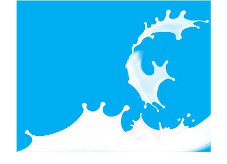 wave, white milk illustration vector set Ilustracja