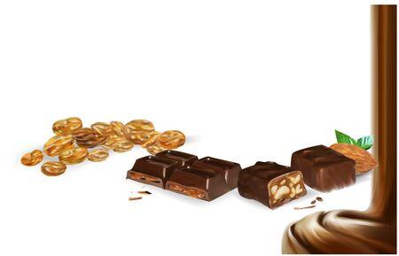 chocolate bar cinnamon flowing caramel vector realistic 3d illustration Ilustracja