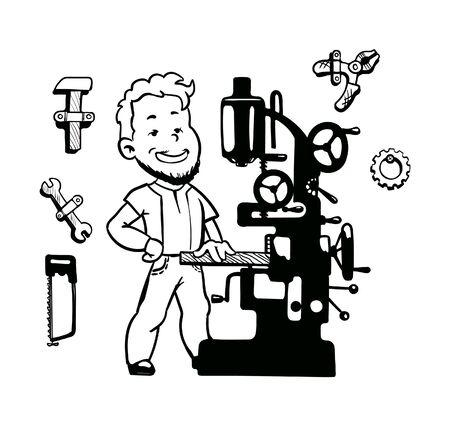 working metal industry machine tool work tools set vector