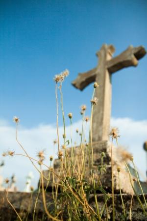 White cross against blue sky