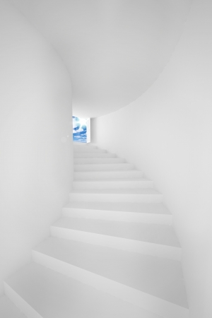 idyll: White stair up to sky success Stock Photo