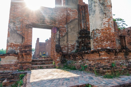 Ruins pagoda in Ayutthaya Historical Park, Thailand  photo