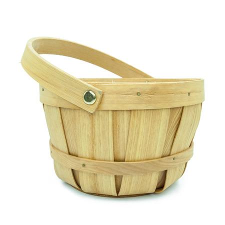 bushel: wooden basket isolated on white background