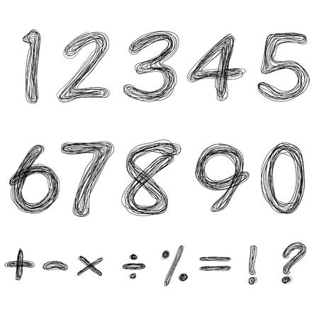 sketch numbers and mathematics symbols Vectores