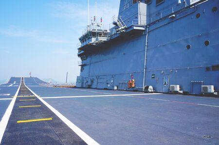 aircraft carrier: The flight deck of an aircraft carrier Stock Photo