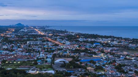 hin: twilight hua hin cityscape view at hin lek fai viewpoint