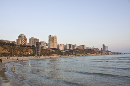 Popular Israel resort Netanya, view on the beach and town from sea Editorial