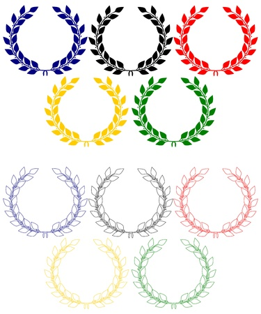 Colorata corona di alloro in ordine di anelli olimpici