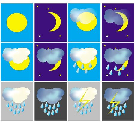 Set of the weather icons - sunny, cloudy etc Stock Vector - 13884554