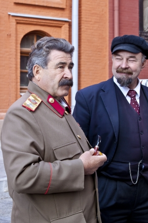 Stalin and Lenin look-alike acters at the Red Square in Moscow