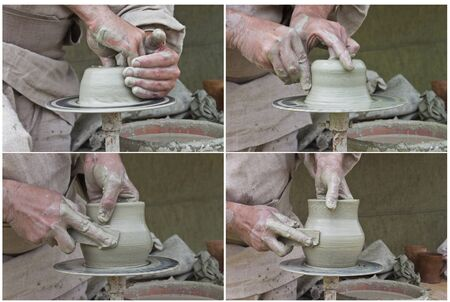 Set of four photos illustrates the pottery process