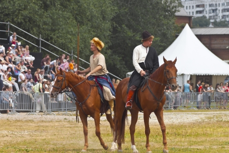 July 7, 2012, Kolomenskoe, Moscow. Festival of the historic reconstruction Times and Epochs. Two cossacs