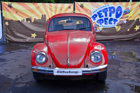 Moscow, park Sokolniki - Festival Retrofest. Red Volkswagen Beetle Stock Photo - 14612202