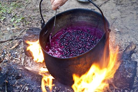 Jam boiling on the fire in the cauldron Stock Photo - 14828026