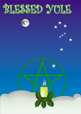 wiccan: Yule greeting card  Illustration
