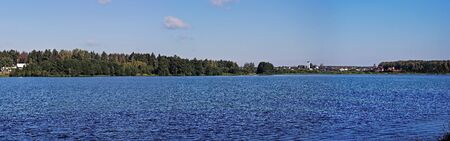 One of biggest lakes in Moscow area, lake Biserovo in Noginsk district, near the town Kupavna  Panoramic view  Stock Photo