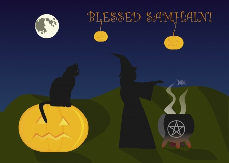 wiccan: Greeting card to Halloween, or Samhain Illustration
