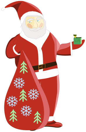 Santa Claus give a snake, symbol of 2013 Stock Vector - 15778025