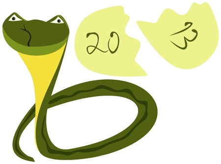 Cute newborn snake, symbol of 2013 Stock Vector - 15778023