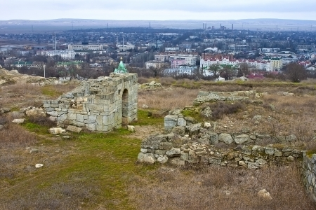 columb: Ruines of antic city Pantikapeum at Mithridat mountain, modern Kerch