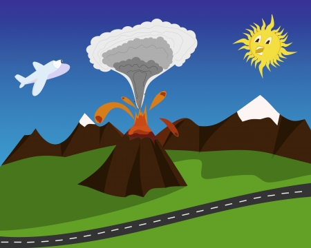 Cartoon eruptiva del volc�n con Sun asustado y airplain