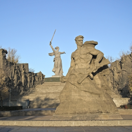 The memorial complex at Mamaev burial in Volgograd dedicated to Stalingrad battle
