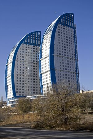 volgograd: Modern dwelling house The Volgas Sails in Volgograd Editorial