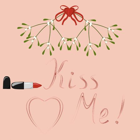 Kiss Me written by lipstick under a branch of mistletoe Stock Vector - 16771299