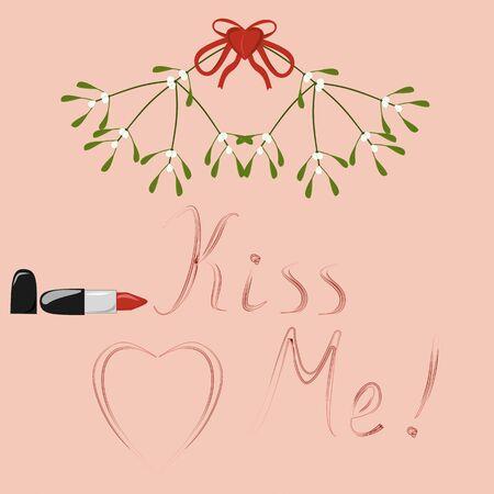 Kiss Me written by lipstick under a branch of mistletoe Stock Vector - 16771299