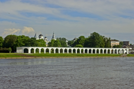 volkhov: Yaroslavs Court, the ancient trade square in Novgorod  In medieval times, here was met the Novgorod Veche  View from the Novgorod Kremlin through Volkhov river