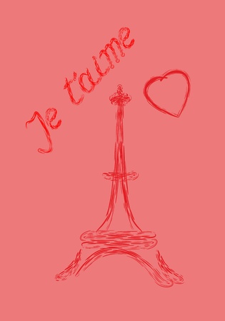 drawed: Valentines Day greeting card, je t aime and Eiffel tower drawed by lipstick Illustration