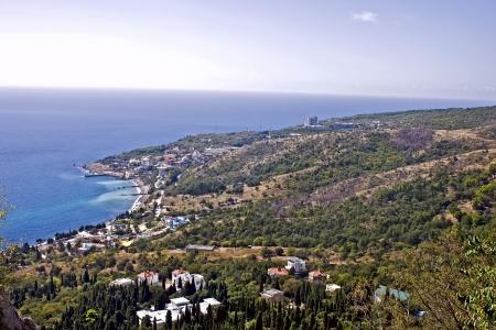 Popular resort Koreiz at Black Sea in Crimea, Ukraine  Bird-flight view