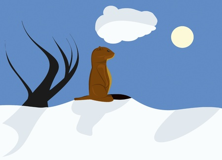 Sunny Groundhog day with deep blue sky and shadows Illustration