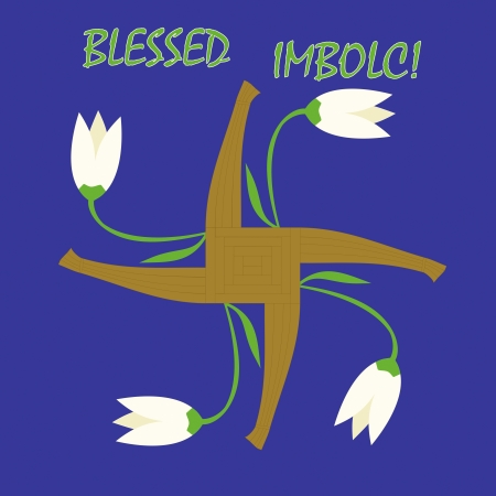wiccan: Imbolc greeting card with a cross of Goddess Brigid and first spring flowers