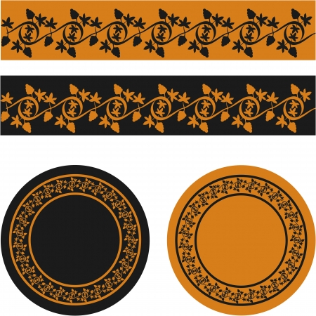antic: Ornament of a grape vines stylized to antic red- and black-figure pottery