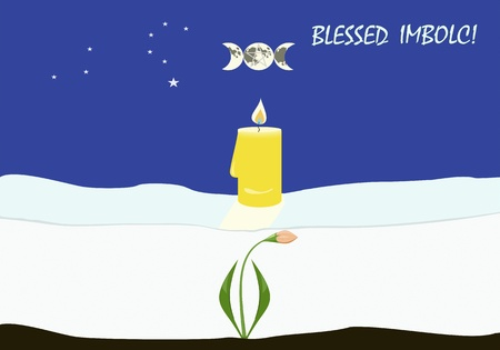 Greeting card to important Wiccan sabbath Imbolc, or Candlemas Vector