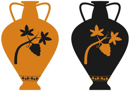 antic: Amphora with image of grape vine, stylization to an antic pottery