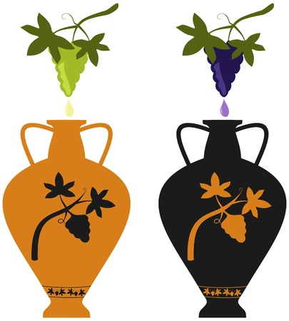 antic: Amphora with image of grape vine, stylization to an antic pottery, and natural grape cluster