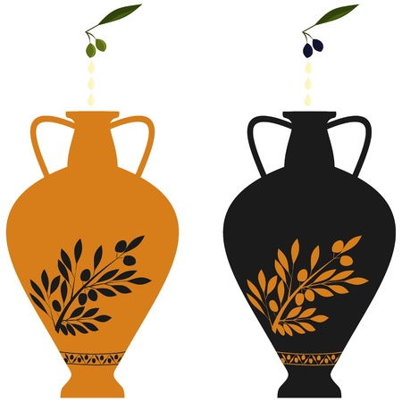 antic: Amphora with image of olive branch, stylization to an antic pottery and natural olives