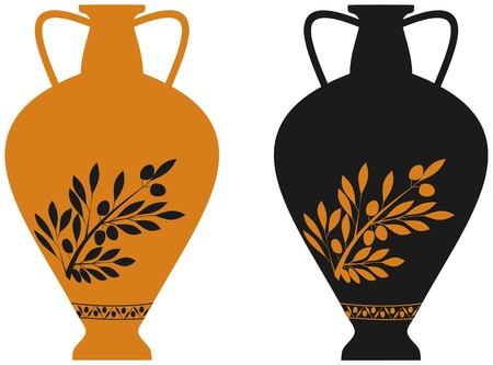 Amphora with image of olive branch, stylization to an antic pottery Illustration