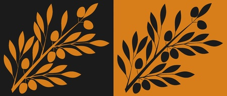 Branch of olive, stylized to antic black- and red-figure pottery