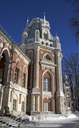 Tsaritsino, historical park in Moscow, formely the residence of empress Catherine the Great  Tower of the Big Palace