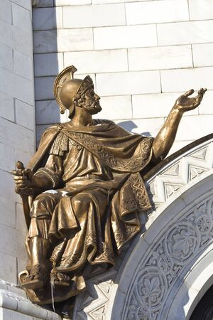 Roman warrior, the haut-relief on the wall of the temple of the Christ the Savior in Moscow