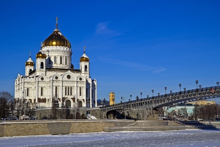 Temple of the Christ the Savior and Patriarch bridge in Moscow, view from Bersenevskaya embankment
