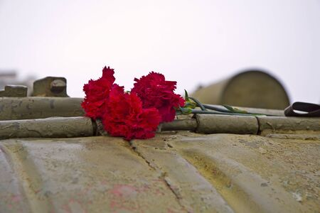 Volgograd, day of the 70th anniversary of Stalingrad victory  Red carnation flowers on the tank armor