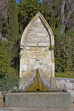 Old fountain in the park of Vorontsov palace  Alupka, Crimea 新聞圖片