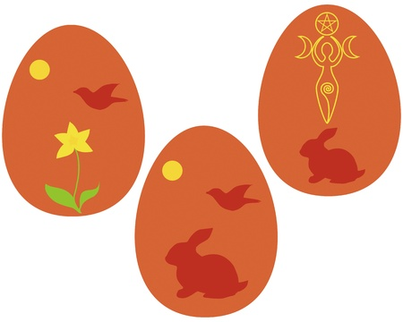 wiccan: Set of Wiccan Vernal equinox sabbath, or Ostara eggs