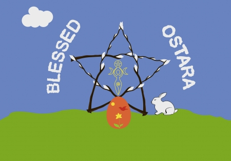 Famous wiccan sabbath Ostara, or vernal equinox, greeting card